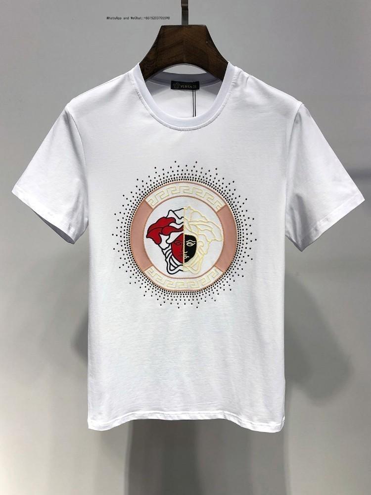 Лето с коротким рукавом с круглым воротом футболки моды для мужчин корейской версии Slim подростки белый прилив платье для мужчин0305 0308