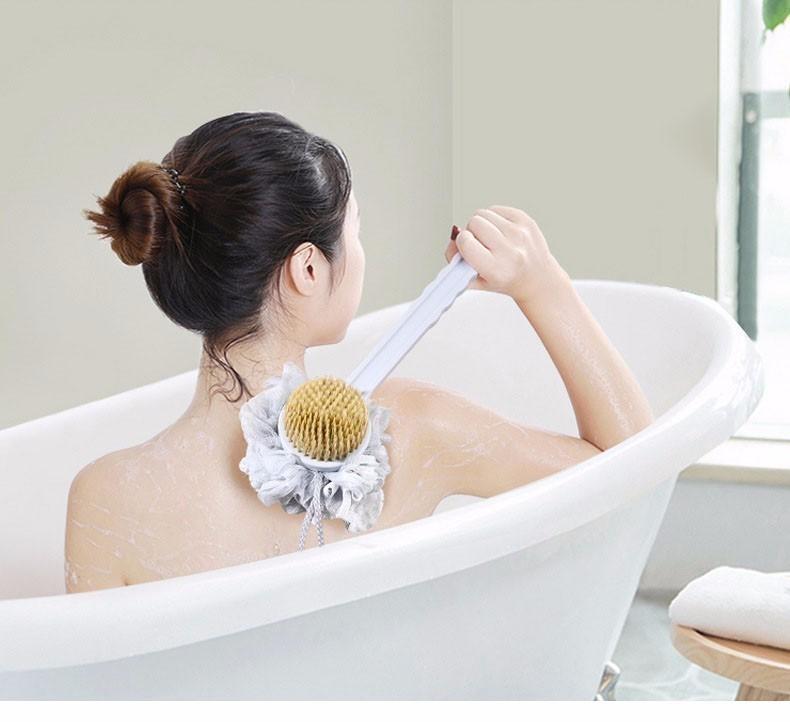 Многофункциональная щетка для душа Двусторонняя щетка для ванны Щетка для тела Губка для мытья спины Длинные сапоги Пилинг Люффа Табурет Стик
