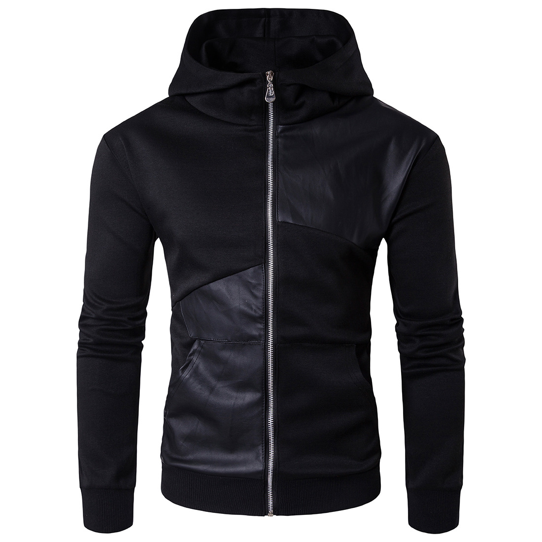 Spring and Autumn Men's Stand Collar British Sweatshirt Black Zipper Hoodie Sweatshirt SH190903