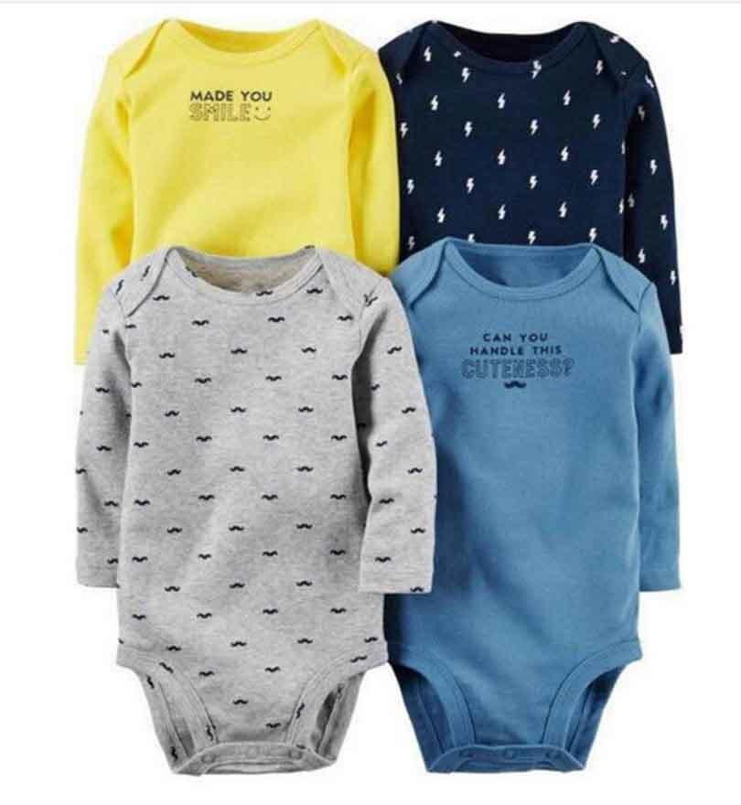 4pcs/lot Spring Autumn long Sleeve 4piece of set Original bebes Baby Boy Girl clothes set Newborn Bodysuit kids Clothing