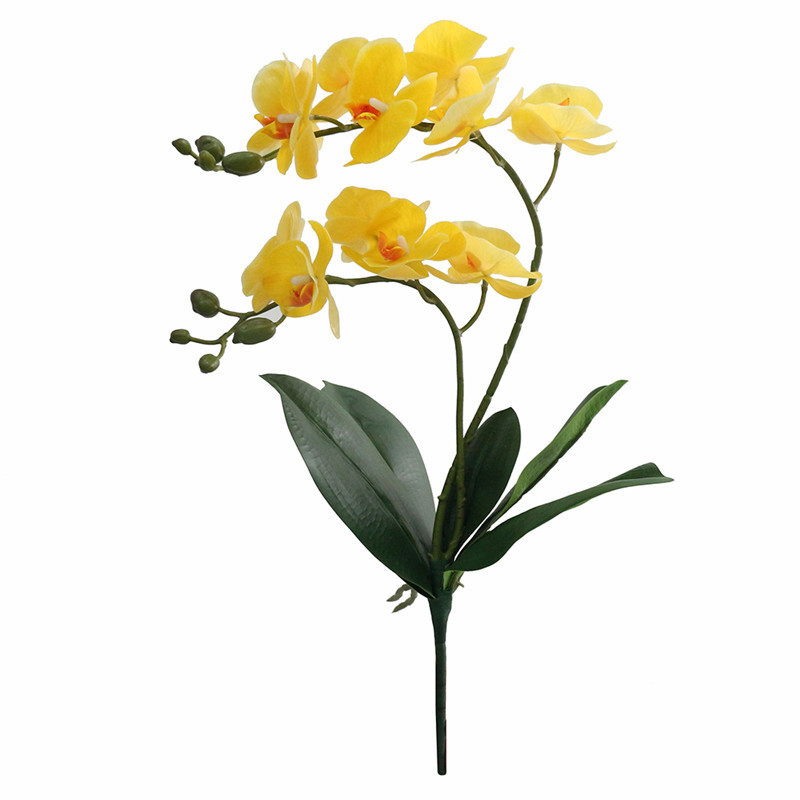 JAROWN Artificial Flower Real Touch 2 Branch Orchid Flowers with Leaves Latex Wedding Decoration Flores (6)
