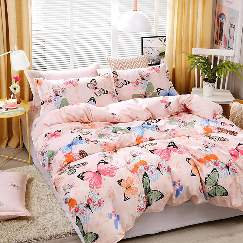 Papillon Floral Bumble Bee Rose Blush simple housse de couette couette Literie Ensemble De Lit