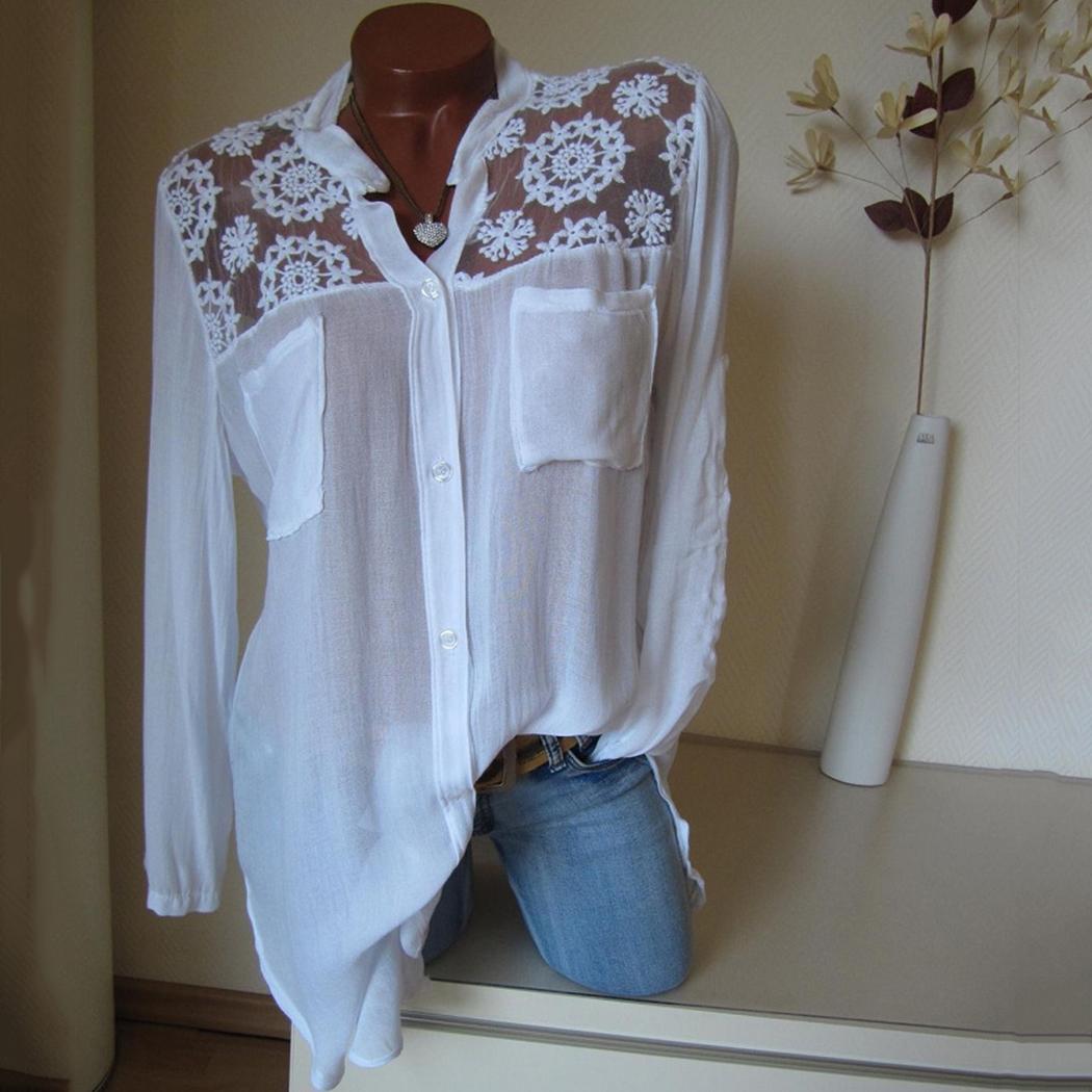 Plus Size 4xl Womens Top e camicette Lace Floral Ladies Office Shirts Estate a maniche lunghe Pocket Tunica Top casual sciolto Blusas Y19050501