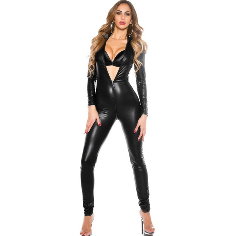 Sexy Faux Leather Rompers Womens Jumpsuit Manches Longues Zipper Skinny Pants Bodycon Jumpsuit 2019 Teddy Lingerie Catsuit Noir T190701