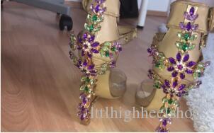 Lucky2019 Sandalias Mujer Shiny Diamond Transparent Heels Jewelry Bridal Wedding Shoes Woman Padlock PVC Clear Crystal Sandals Women