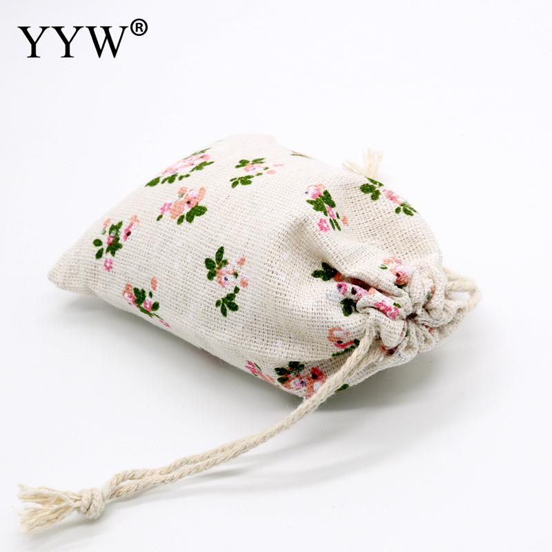 9*12cm Handmade Drawstring Cotton Linen Storage Bag Tea/Candy/Jewelry Organizer Makeup Cosmetic Coins Small Cloth Bag