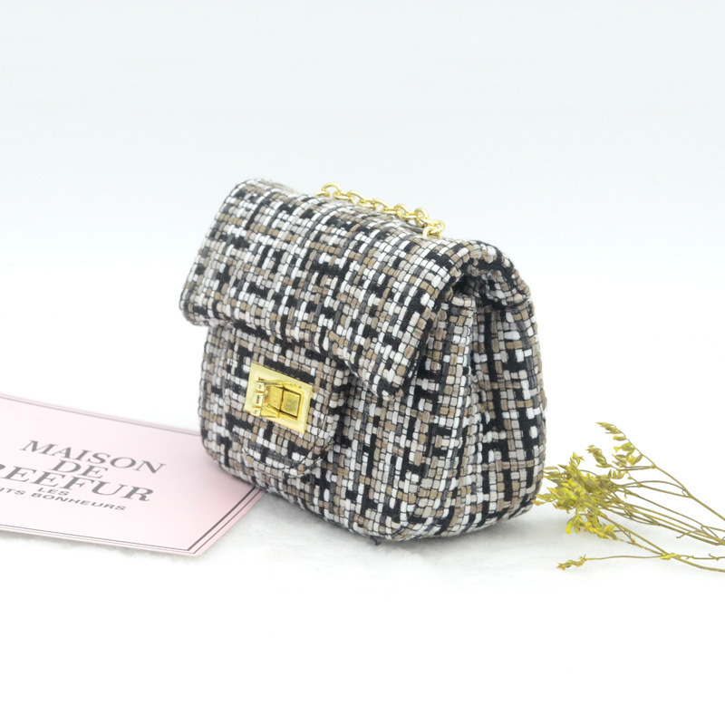 Distinctive2019 Wool Heavy Woolen Cloth Bag Small Real Diamond Lattice Chain Single Shoulder Messenger Woman Package