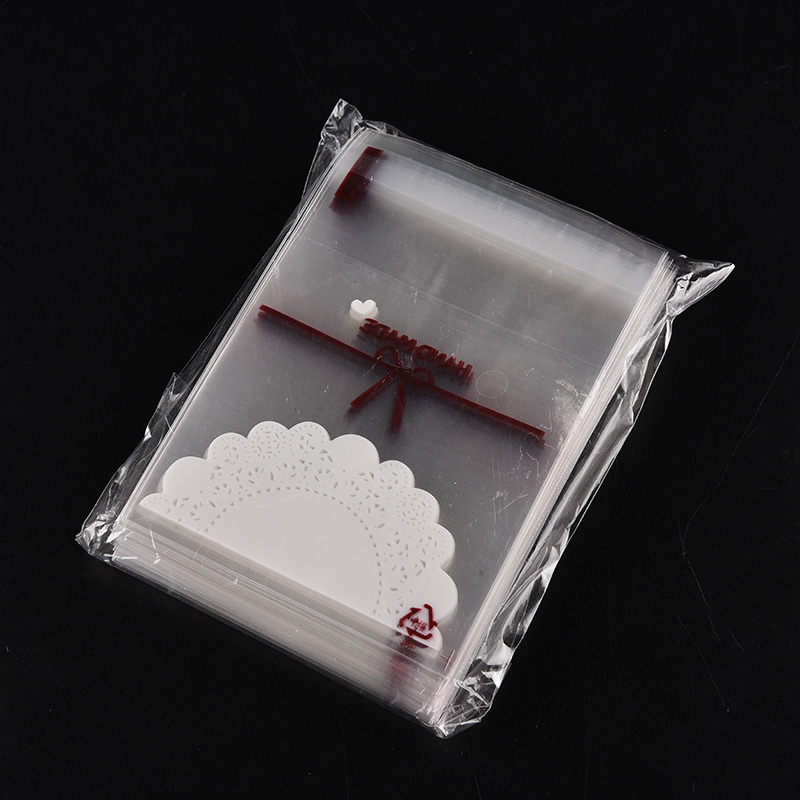 100Pcs Cute Lace Bow Print Gifts Bags Self-adhesive Christmas Cookie Packaging Plastic Bags For Biscuits Candy Cake Package