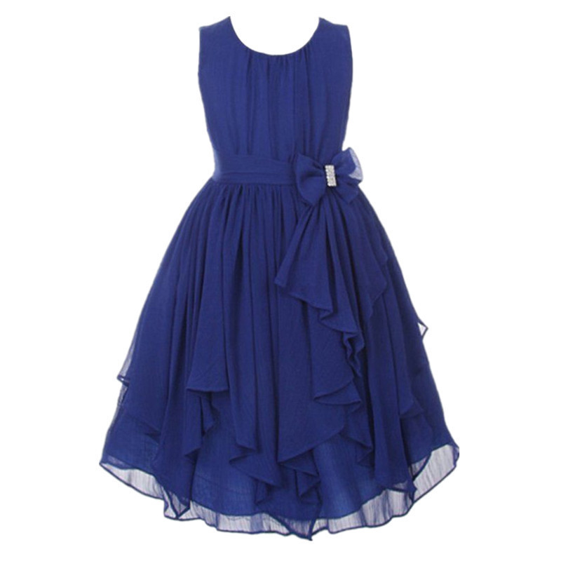 New Girls Summer Chiffon Clothing Dress Children Kids Teen Princess Elegant Wedding Prom Party Junior Teenager Outfit J190505