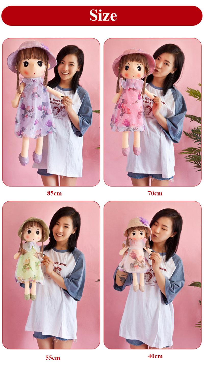 1pcs 40cm Plush Dolls Accompany Doll Toys Cute Cartoon Ragdoll Stuffed Flower Dress Girls Plush Rag Doll Toys for Children Gifts (4)