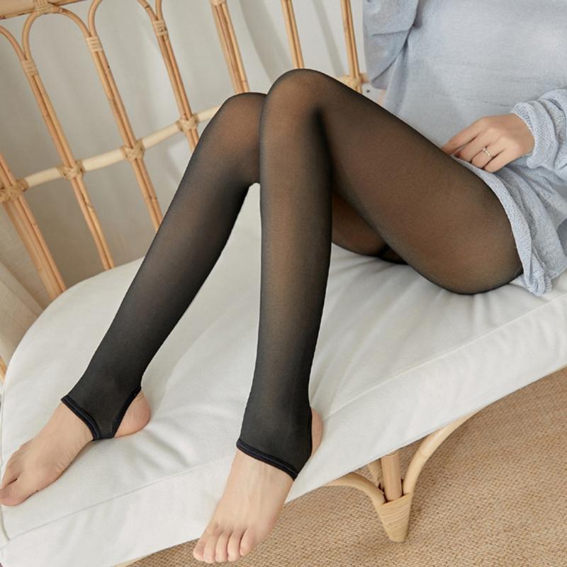 Women Legs Fake Translucent Warm Fleece Pantyhose-Tights Stockings UK Hot!