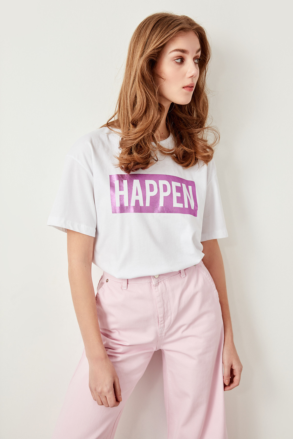 Trendyol White Printed Knitted T-shirts TWOSS19YN0118 J190424