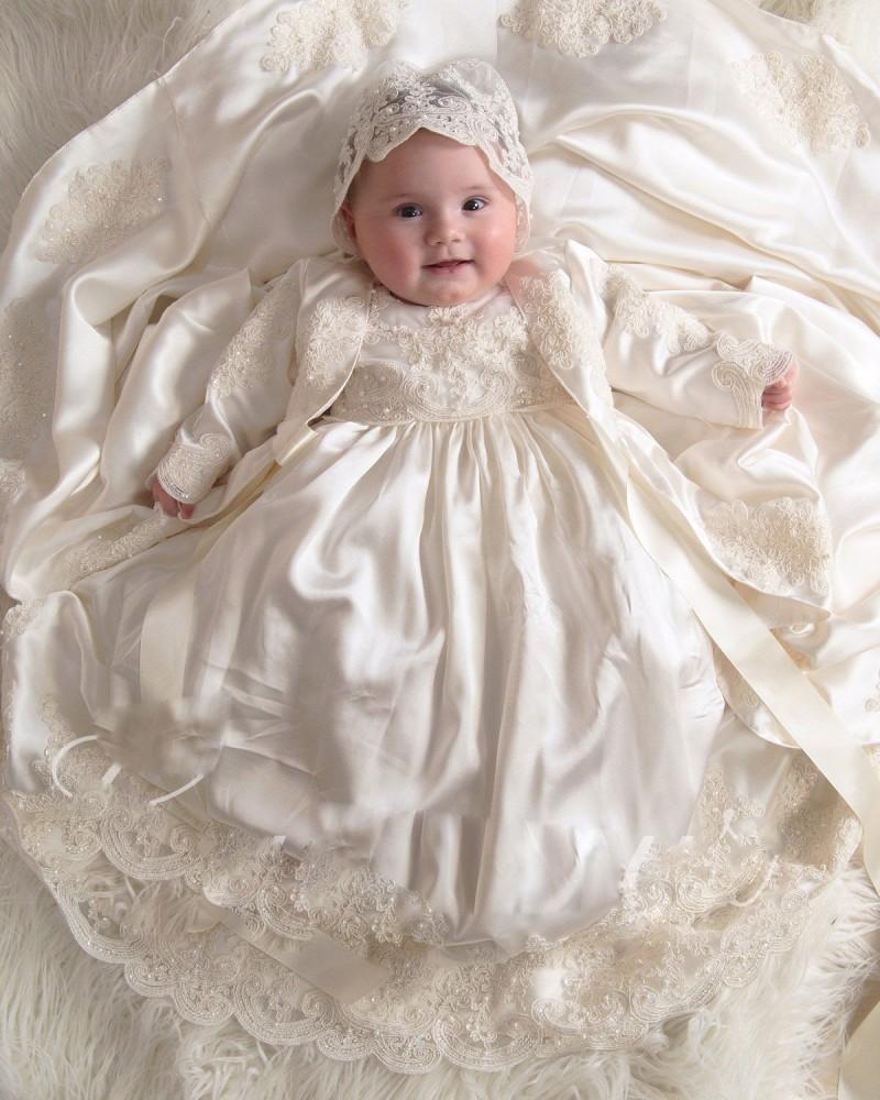 2019 neue erste kommunikation dress kurzarm taufkleider für babys spitze  applizierte perlen perlen taufe kleider mit mütze
