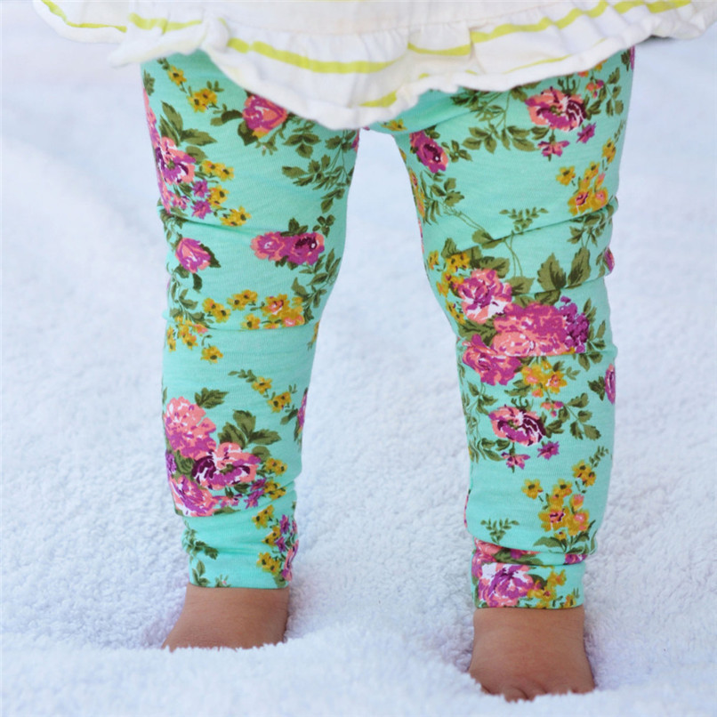 Girls Pants Fashion Toddler Infant Baby Girls Full Pants Flowers Printed Faux Cotton Skinny Pants Suit For 6-24M Baby M8Y09 (9)
