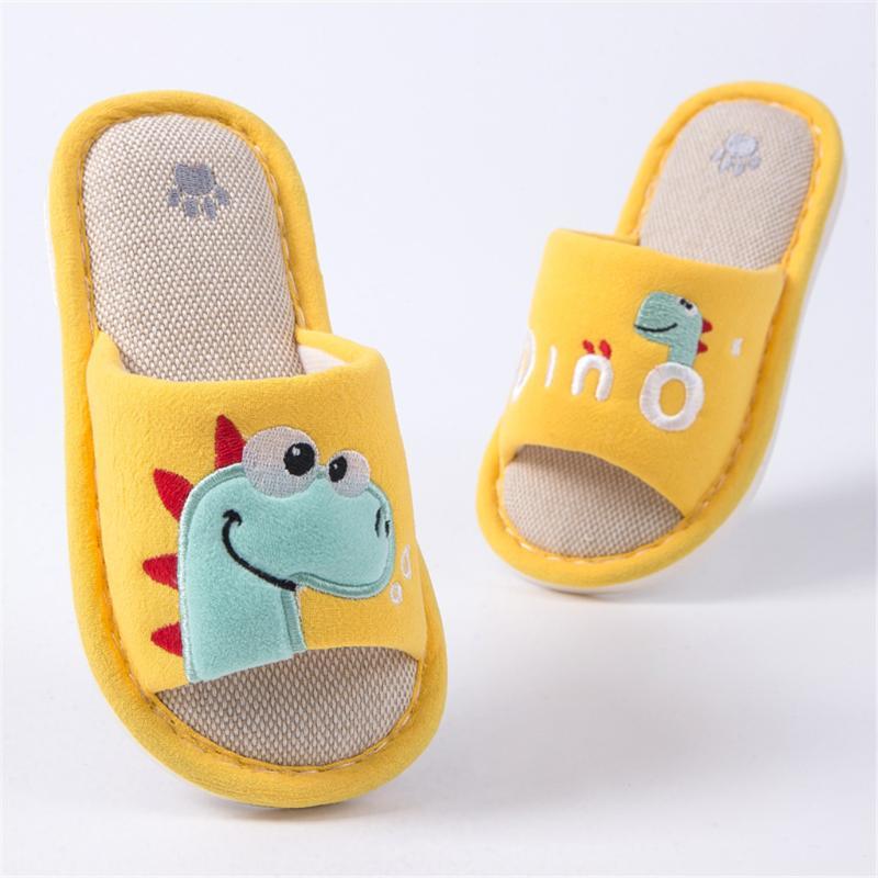 Dinosaur Pattern Funny Cute Dino Yellow Indoor Flip Flops For Men