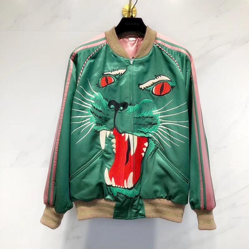 2019 Jackets Men New Patchwork Color green tiger pattern Pullover Jacket Fashion Tracksuit Coat Men Hip Hop Streetwear Jacket Men