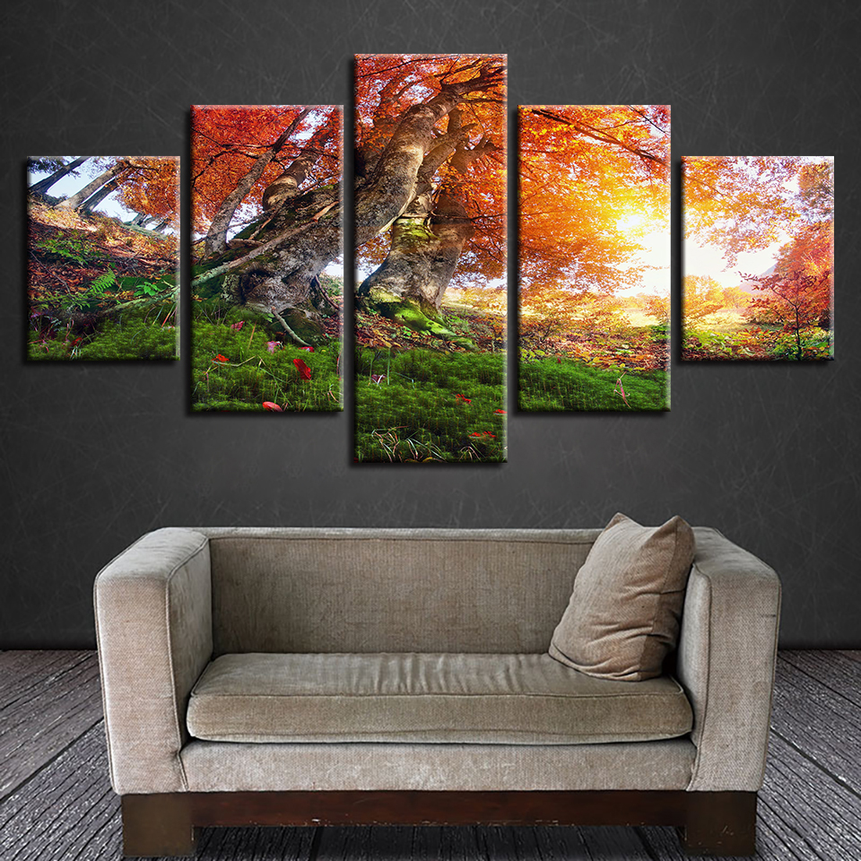 Canvas HD Prints Pictures Wall Art Autumn Forest Trees Painting Scenery Poster Modular Living Room Home Decor Framework