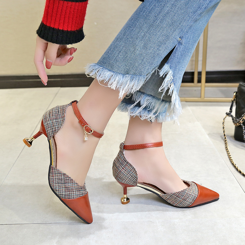 Dress Shoes Pumps Women Woman Buckle Strap Hoof Heels Casual Female Pointed Toe High Heels Hemp Leather Mary Jane Ladies
