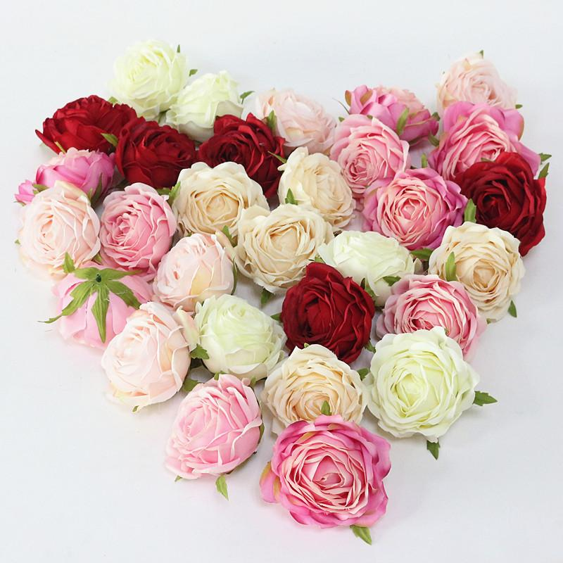 Flone High Quality Artificial Flower Head Retro Rose Head Silk Flower Wedding Christmas Party Decor Flores (3)
