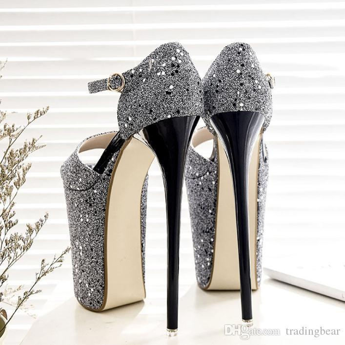 Charm2019 23cm Super High Platform Gold Wedding Shoes Women Pumps Sexy Lady Dance Shoes Party Queen To