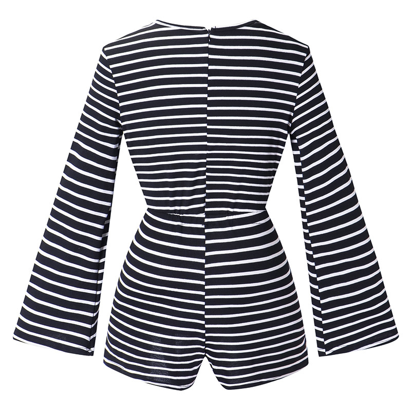 2019 New Women Stripe Print Playsuit O Neck Flare Sleeve Overalls Holiday Beach Romper Jumpsuit Shorts Black/Dark Grey Bodysuit