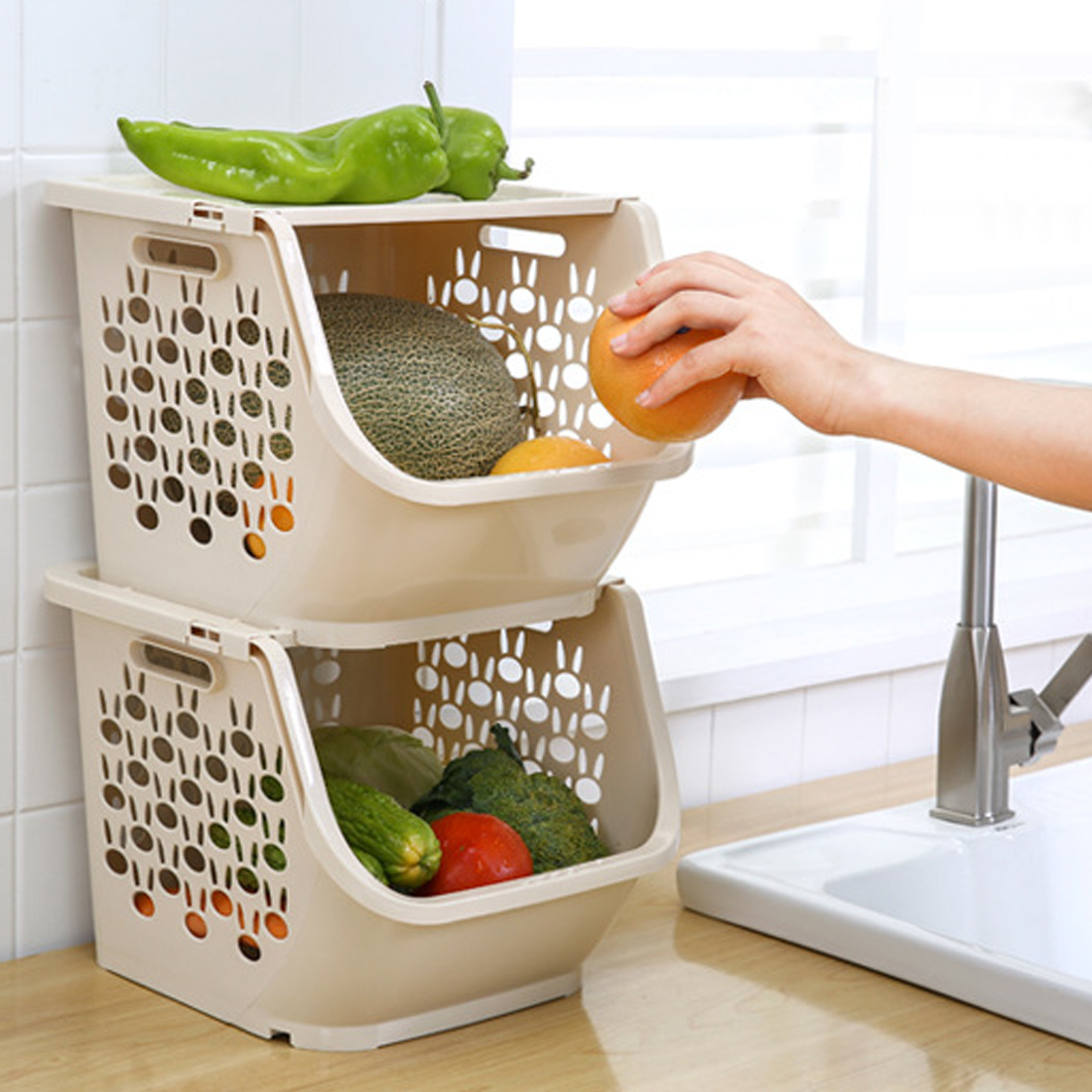 Hipsteen Kitchen Storage Basket Plastic Multi-functional Hollow Vegetables Fruit Racks With Cover Storage Basket For Organizers SH190703