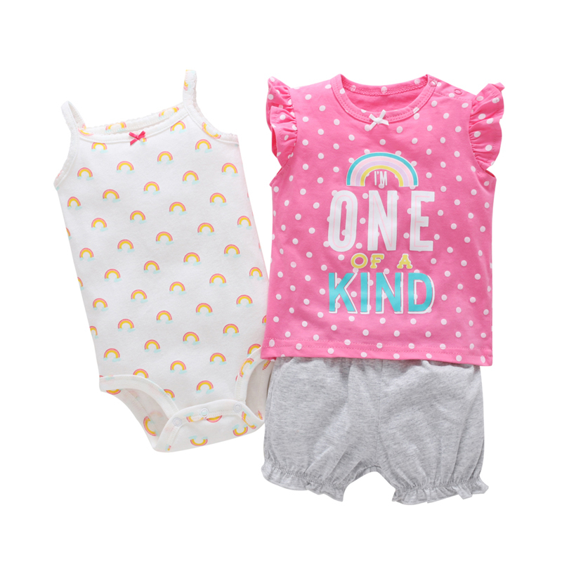 summer cute baby girl infant clothes set pink 3PCS newborn outfit gift sleeveless letter T-shirt dot+ rainbow romper+shorts