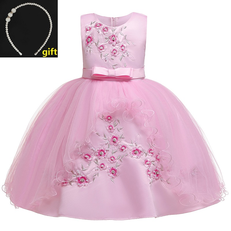 Cute Yellow Flower Girl Dresses Embroidery Stand Collar Birthday Wedding Dress