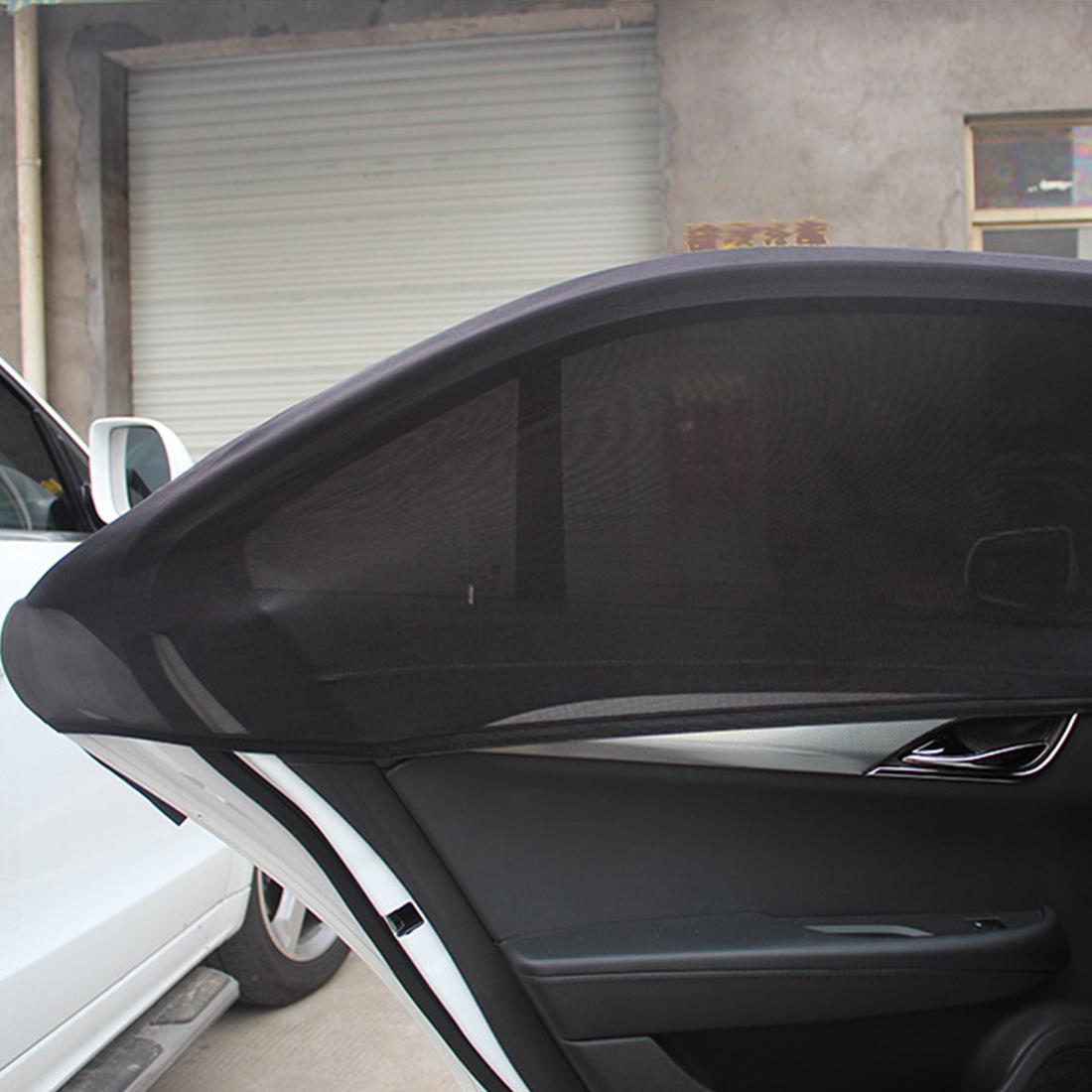 Car Sun Visor Rear Side Window Sun Shade Mesh Fabric Sun Visor Shade Cover Shield UV Protector Black Auto Sunshade Curtain 2Pcs