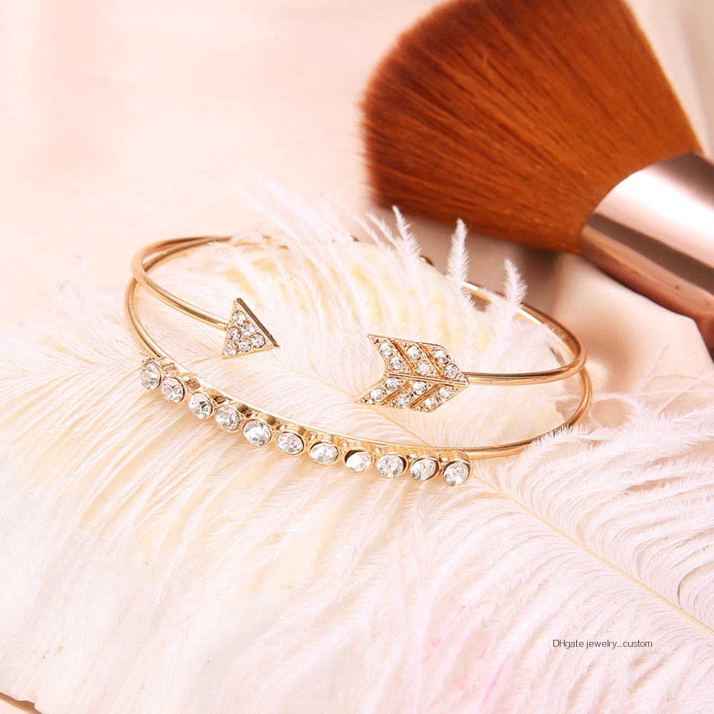 2-unids-set-pulsera-brazalete-Vintage-brazaletes-para-las-mujeres-de-Color-oro-abierto-flecha-anudada (1)