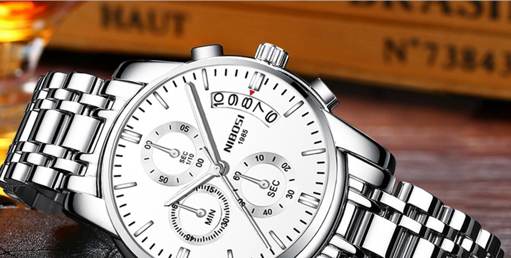 NIBOSI Mens Watches Top Brand Luxury Premium Luxury Fashion Luminous Waterproof Watch High-end Calfskin Pure Steel Strap Blue (16)