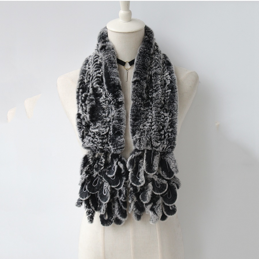 knitted rabbit fur scarf rabbit (9)