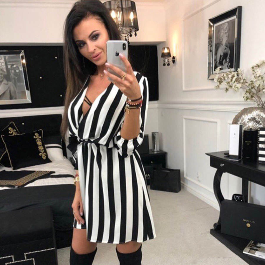 -Summer-Women-Dress-Striped-Office-A-Line-Dress-Batwing-Deep-V-Neck-Tunic-Bandage-Bodycon (3)