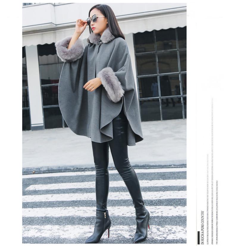 faux fur collar cloak style wool blend outerwear-12