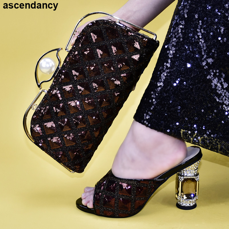 Matching Shoes And Bags Set Luxury Nigerian Women Shoes Sandals Low Heels Pumps