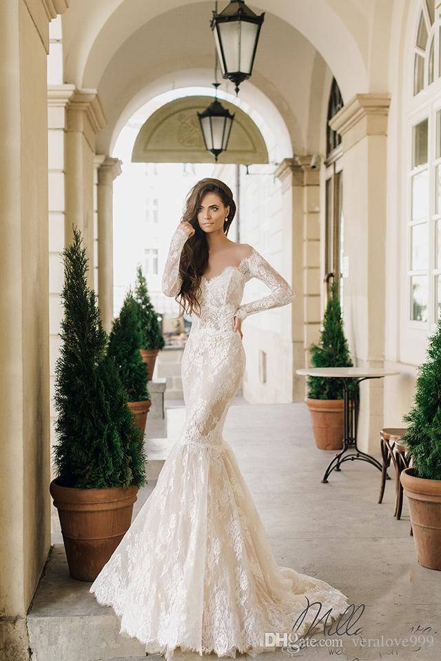 Milla Nova Vintage Wedding Dresses 2017 Sheer Neck Long Sleeves Mermaid Bridal Gowns Sweep Train Button Back Covered