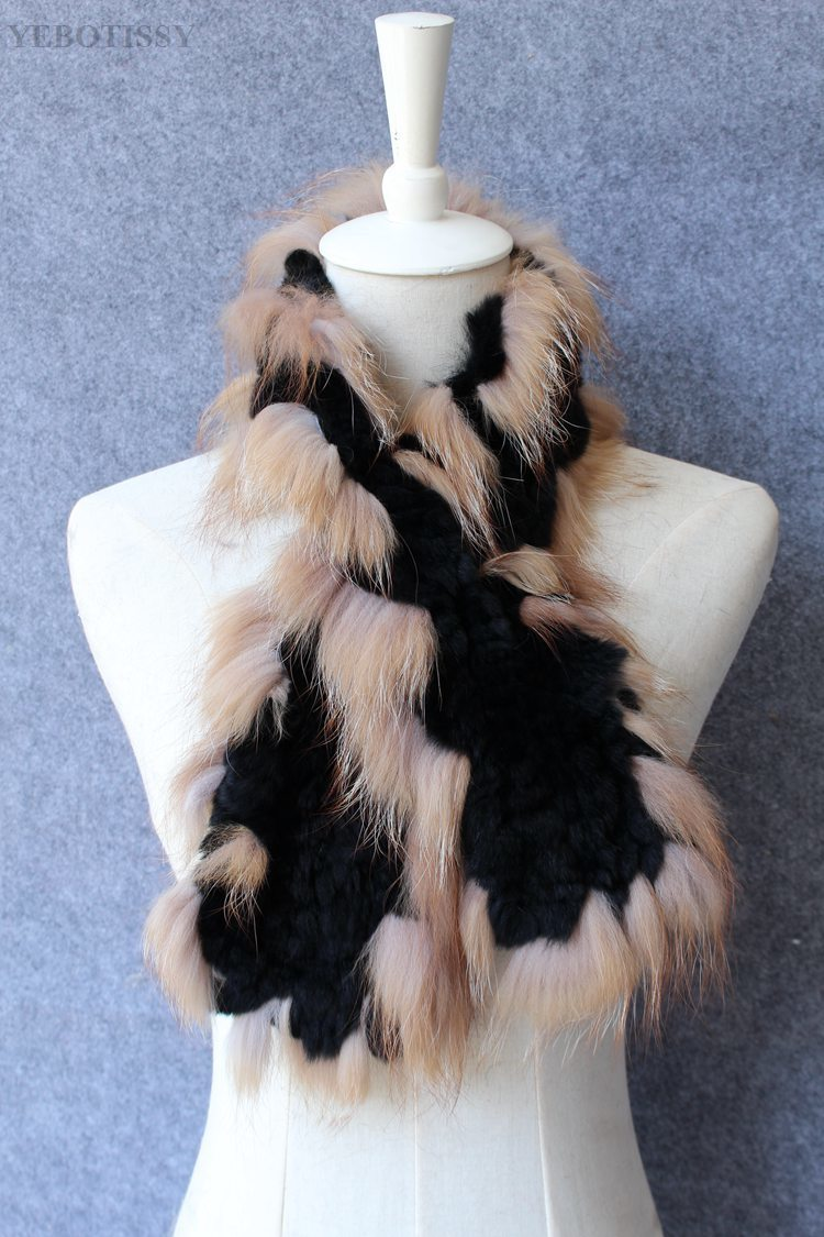 natural rex rabbit fur scarf silver fox fur (10)