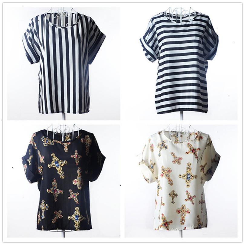 Summer Style Big Dots Women Blouse 19 Type Large Size Woman Printing Blouse Shirt Short-sleeved Chiffon Blusas Femininas Roupas (4)