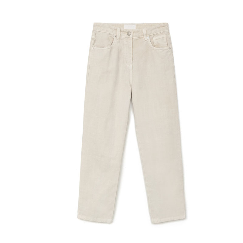 Love2019 Network Red With Color Sandstone Bai Xian Thin Chic Directly Cuffless Trousers High Waist Pants White Jeans Woman