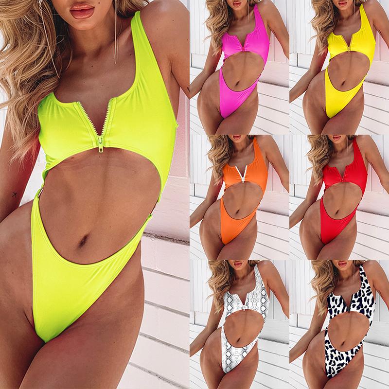 Bikinx Zipper Sexy Bikini 2019 Monokini Aushöhlen Push Up Badeanzug Weiblich High Cut Plus Size Bademode Frauen Badende Y19072401