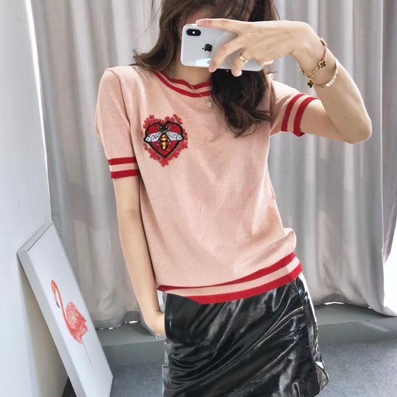 Warmsway Bee Motif Fleurs Appliques Crop Top T Shirt Pulls Tricots Été Top 2019 Korean Stripe Conception Vêtements B-103J190424
