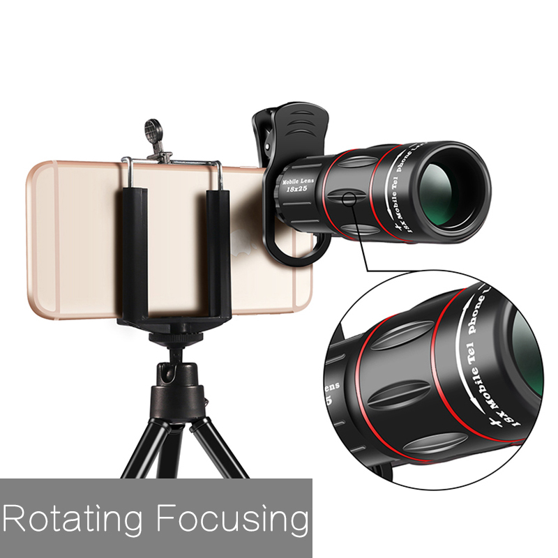 TOKOHANSUN 18X Telescope Zoom Mobile Phone Lens for IPhone Samsung Smartphones Universal Clip Telefon Camera Lens with Tripod