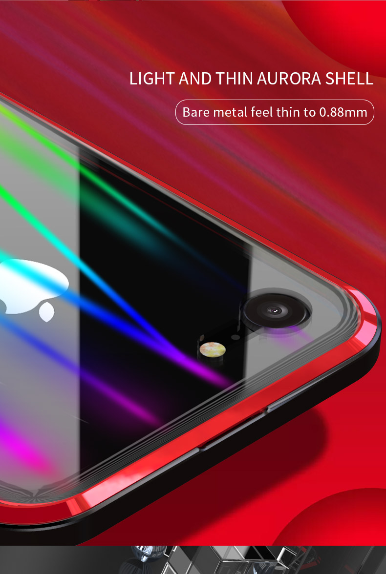 LUPHIE Colorful Laser Aurora Case For iPhone X 8 7 Plus Luxury Glass Case (6)