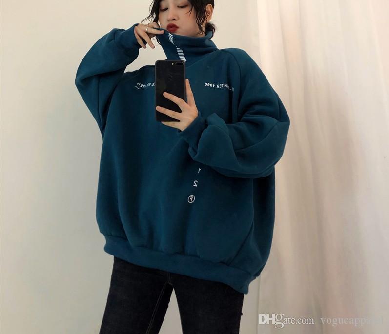 Da Donna ulzzang Harajuku Korean Fashion Felpa con cappuccio Cappotto Giacca Lazy Tops Felpa
