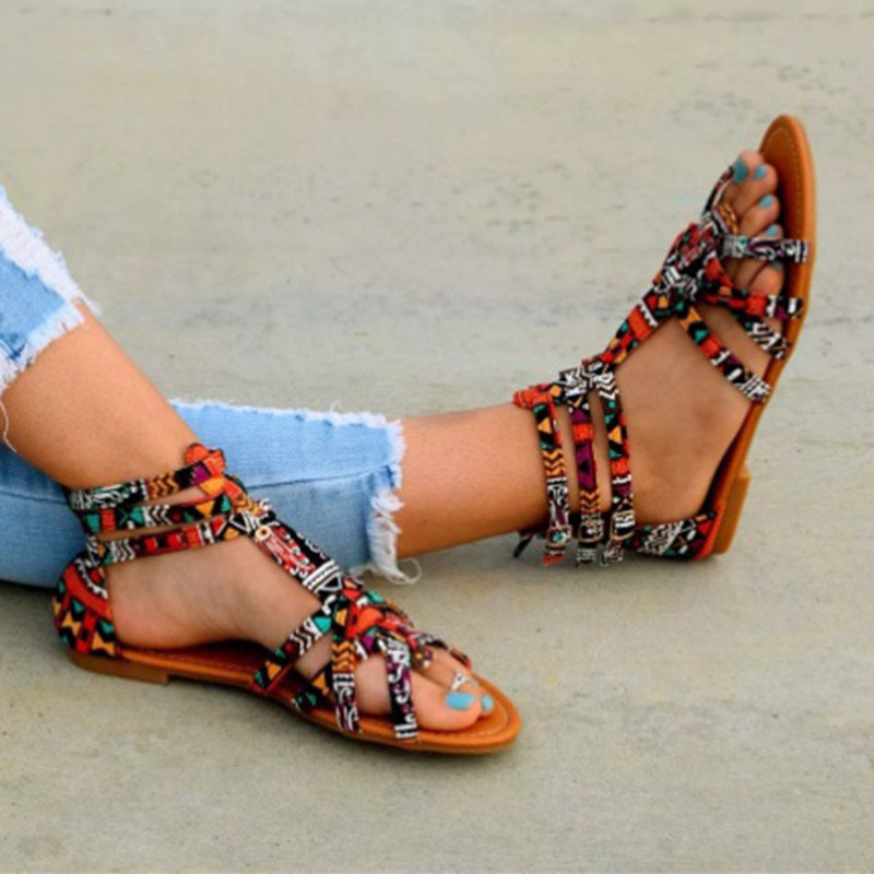 Summer women sandals gladiator bohemian ethnic open toe casual flats beach ladies shoes big size sandalias mujer