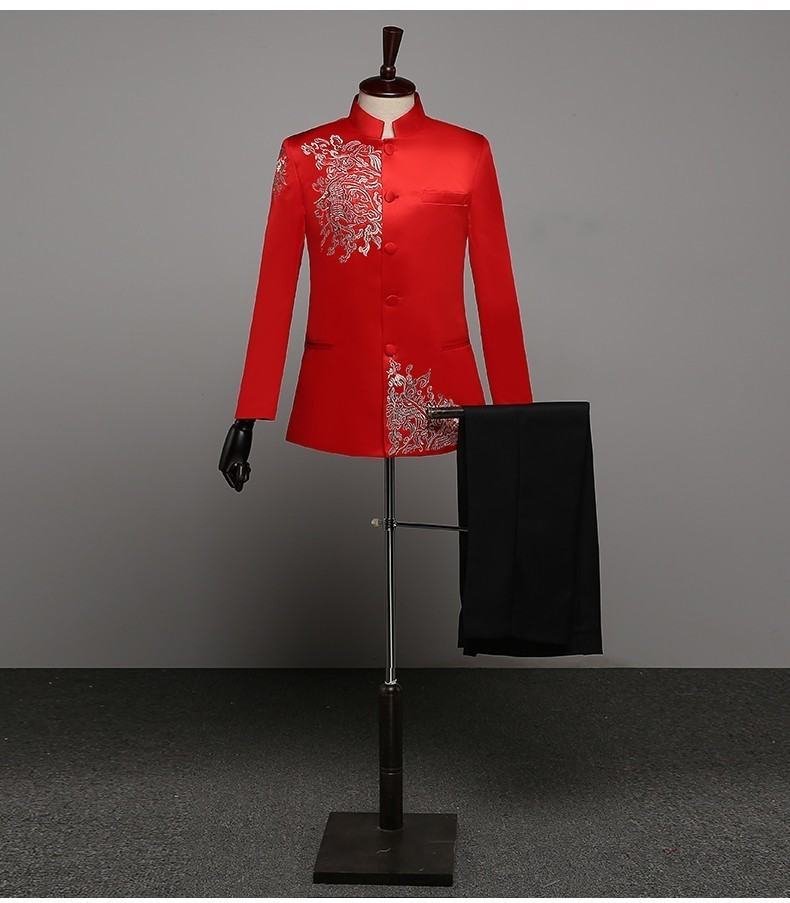 Male Chinese Tunic Suit Competitive Products Embroidery Stand Lead Show Serve Man Will Choir Stage Performance Serve Host Full Suit