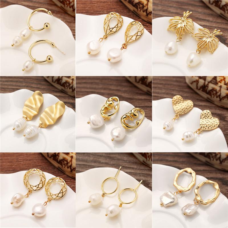 Fashion Design Barocco Metallo Oro Irregolare Geometrica Cerchio Quadrato dAcqua Dolce Naturale Orecchini Perla per Le Donne Regali