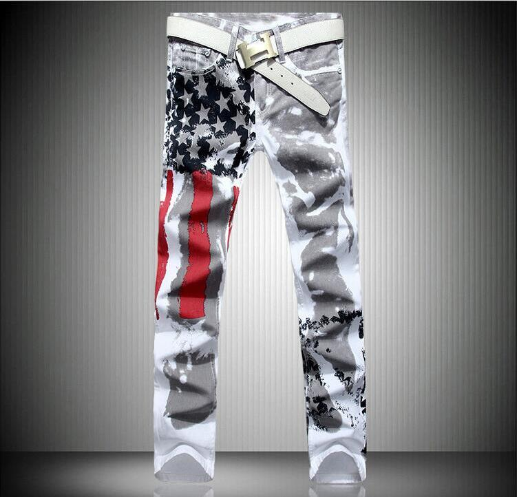 Fashion mens designer jeans Long denim Trousers With American Flag Printed Plus Size Resilience Pants Clothing