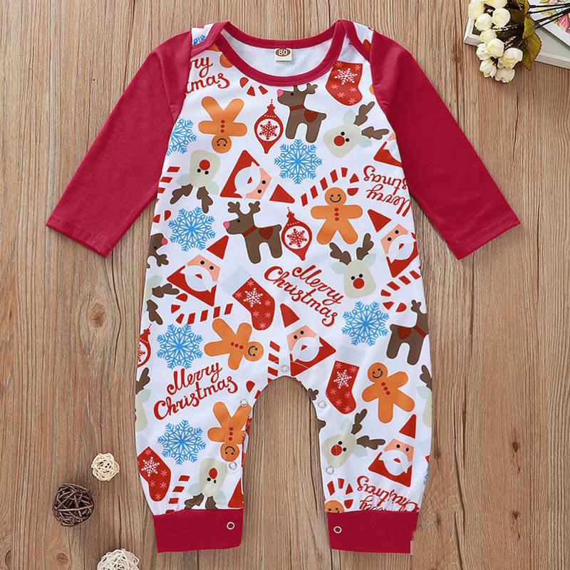 Unisex Baby O-Neck Long Sleeve Solid Color Onesie Santa Claus with Different Action Crawling Suit