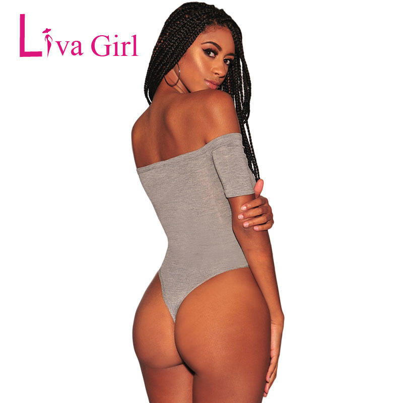 Liva Girl Summer Sexy Bodycon Bodysuit For Women 2019 Mujer Button Off Shoulder Short Sleeve Jumpsuit Black Gray Romper Body Top C19040402